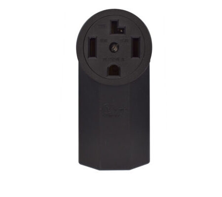 30 Amp 125/250 Volt Grounding Surface Mount Power Outlet-Black