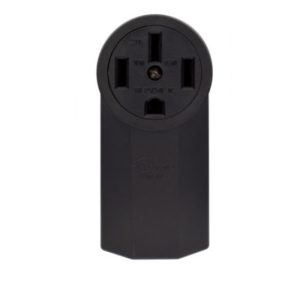 50 Amp 125/250 Volt Grounding Surface Mount Power Outlet-Black