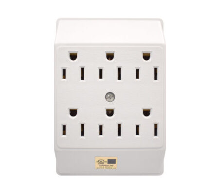 15A 3-Wire Single to Six Outlet Grounding White Adapter-WH
