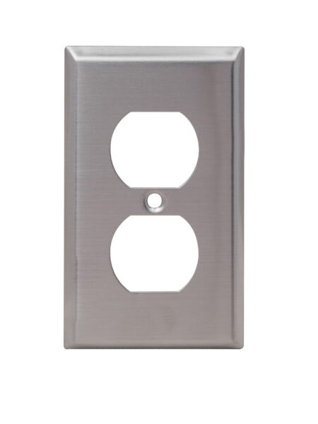 1-Gang Stainless Steel Duplex Receptacle Wall Plate
