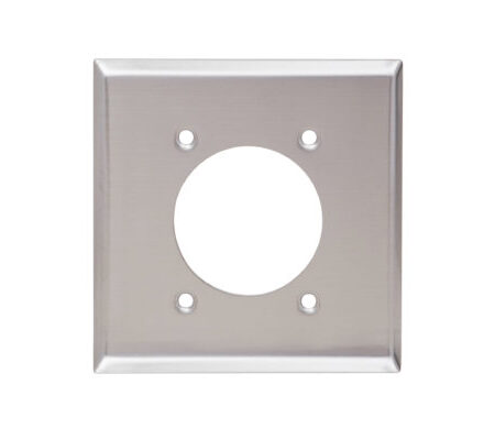 2 Gang Stainless Steel Single Receptacle Wall Plate