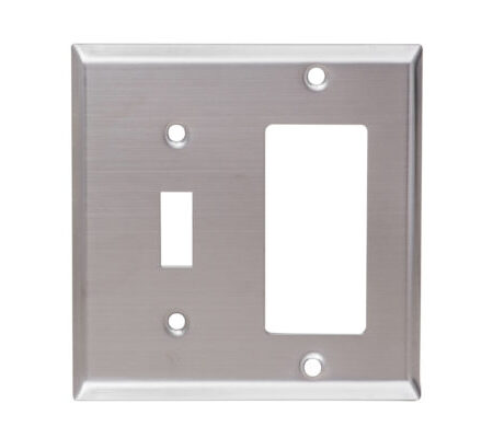 2 Gang Stainless Steel Toggle Switch & Decorative Device Combination Wall Plate