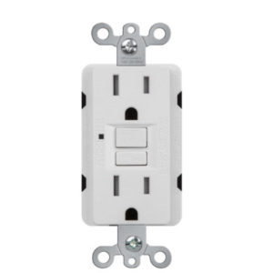 15 Amp Duplex GFCI Receptacles Self-Test with LED Light