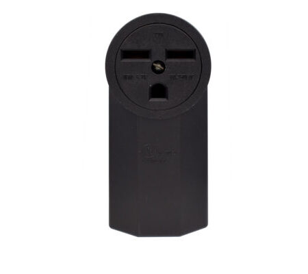 30 Amp 250 Volt Grounding Surface Mount Powe Outlet-Black