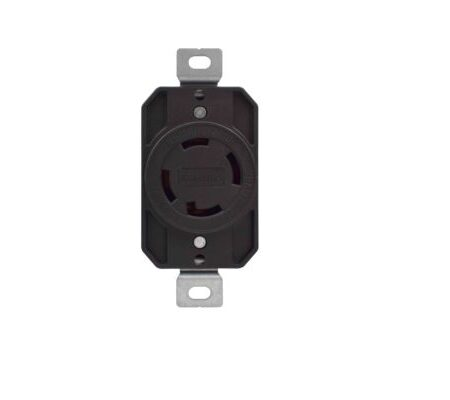 30 Amp, 125/250 Volt Locking Receptacle-Black