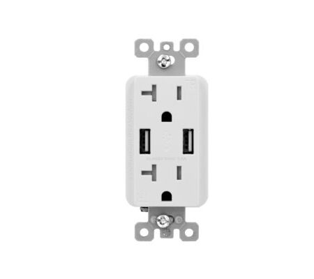 3.6 Amp Dual USB Charger, 20 Amp Duplex Tamper Resistant Receptacle