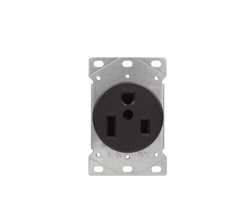 50 Amp Flush Mount Receptacle 250 Volt - Black