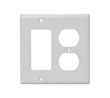 2 Gang, Plastic, 1 Duplex Receptacle & 1 Decorative Combination Wall Plate